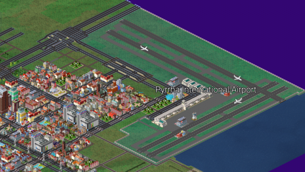 The Pyrrha International Airport on the eastern end of the city of Pyrrha.