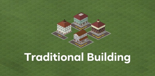 This is the traditional building pack which consists of 1 corner building and 3 normal buildings...