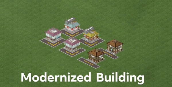 This is the modernized version you would probably see on any city here. There's 4 corner buildings and 2 normal buildings...
