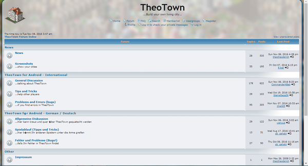 TheoTown Index page