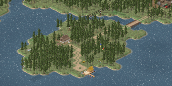 A small island that includes a hunting lodge and a small fishing pier