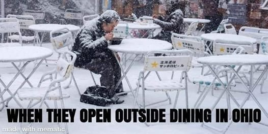 A meme I saw:  but if you look closely, it's not taken in Ohio, even thouth there was snow there today!
