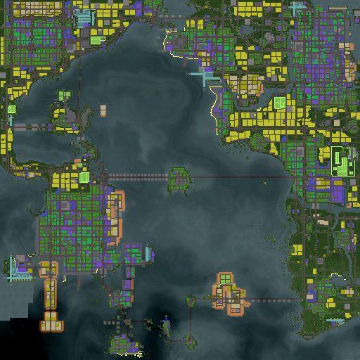 The minimap.<br /><br /><br />Upper left: Greenfield City. Upper Right: New Wellington, Lower left: Pearl City, Right middle, Fort Ruther. Left tot New Wellington: New Karlsruhe.